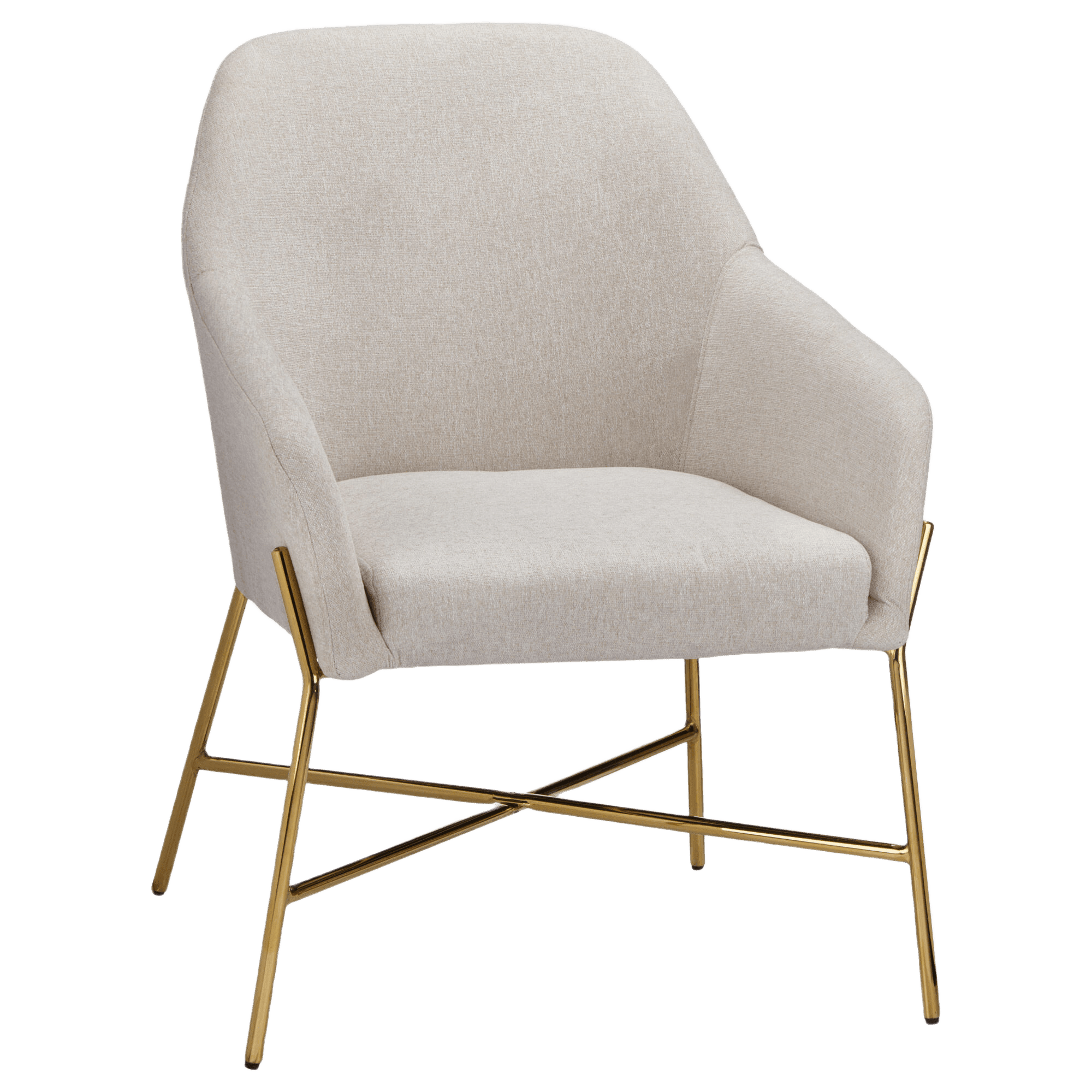 Fabric and Gold Metal Lounge Chair