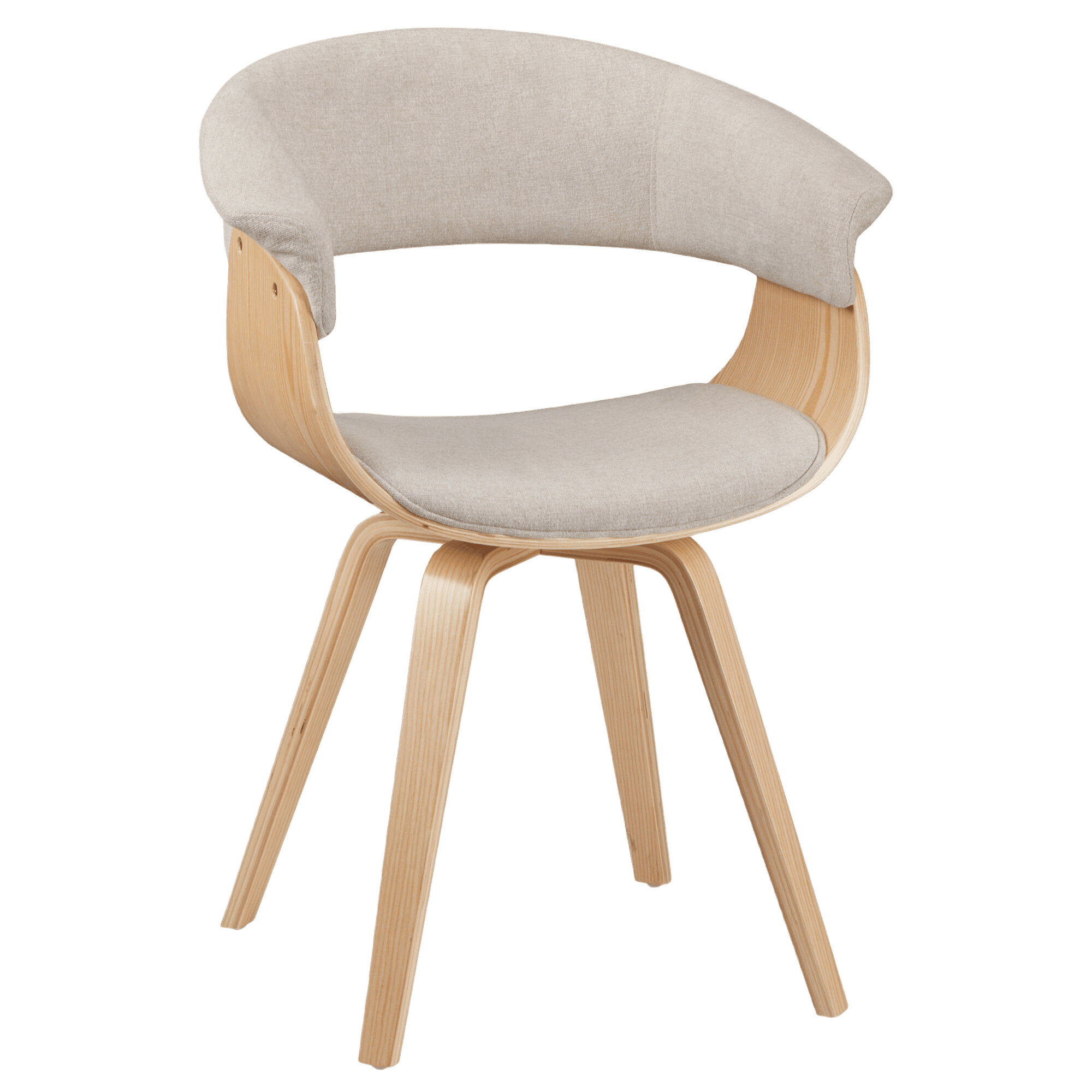 Natural Fabric and Wood Chair