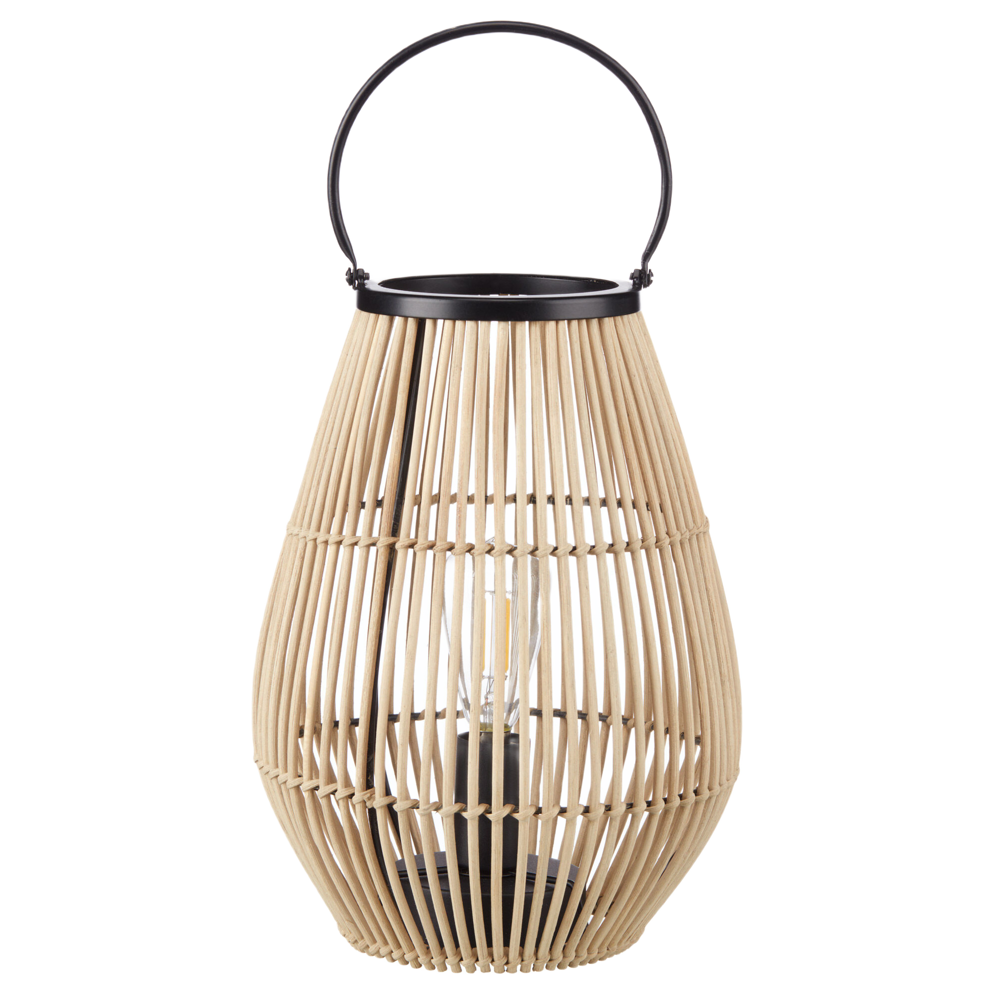 Lampe de table lanterne en rotin naturel