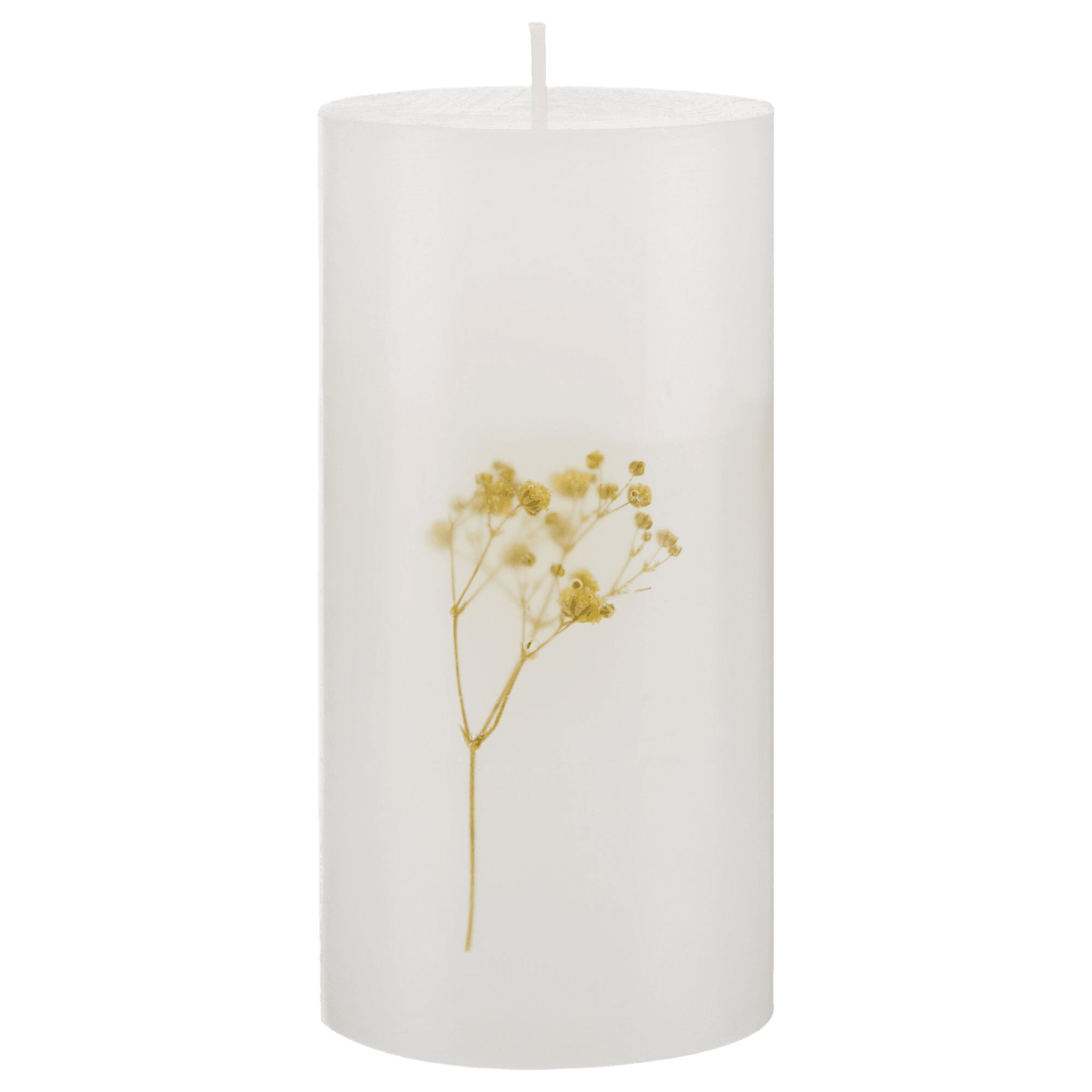 White Candle with Yellow Flower