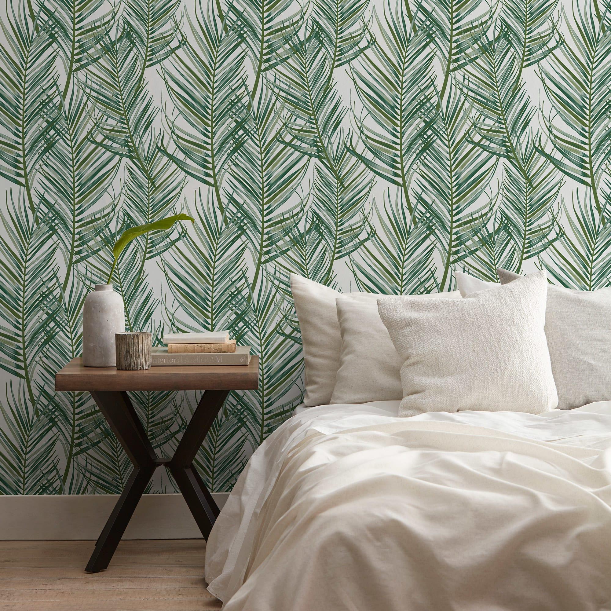 Papier peint autocollant feuilles tropicales pâles