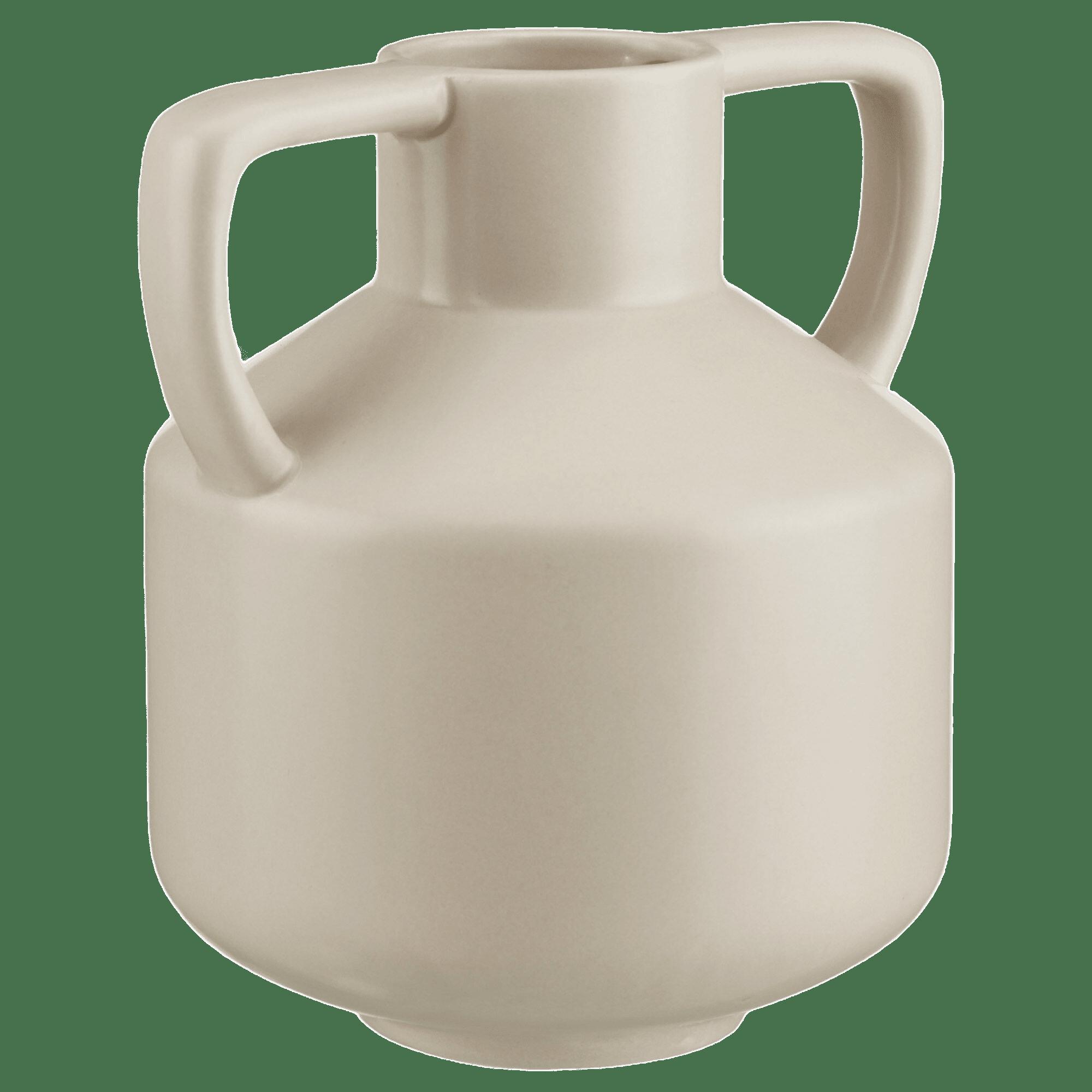 Vase beige avec poignées angulaires