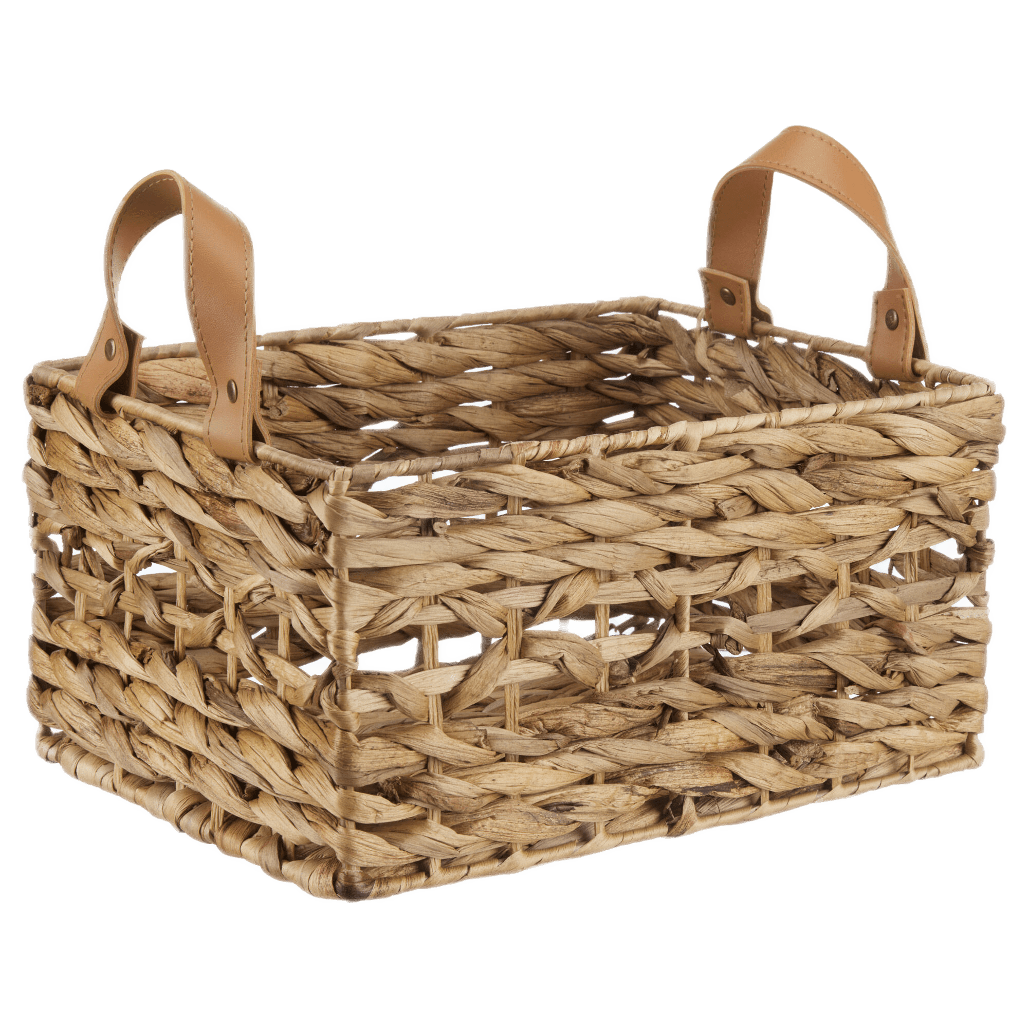 Water Hyacinth Crate with Faux Leather Handles