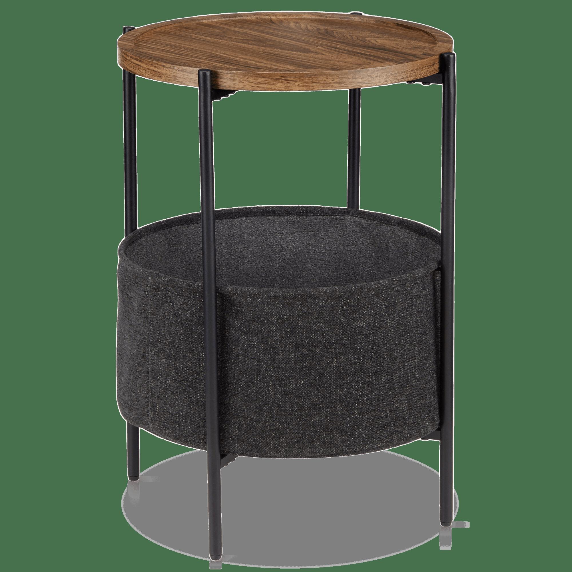 Walnut Side Table with Bottom Storage