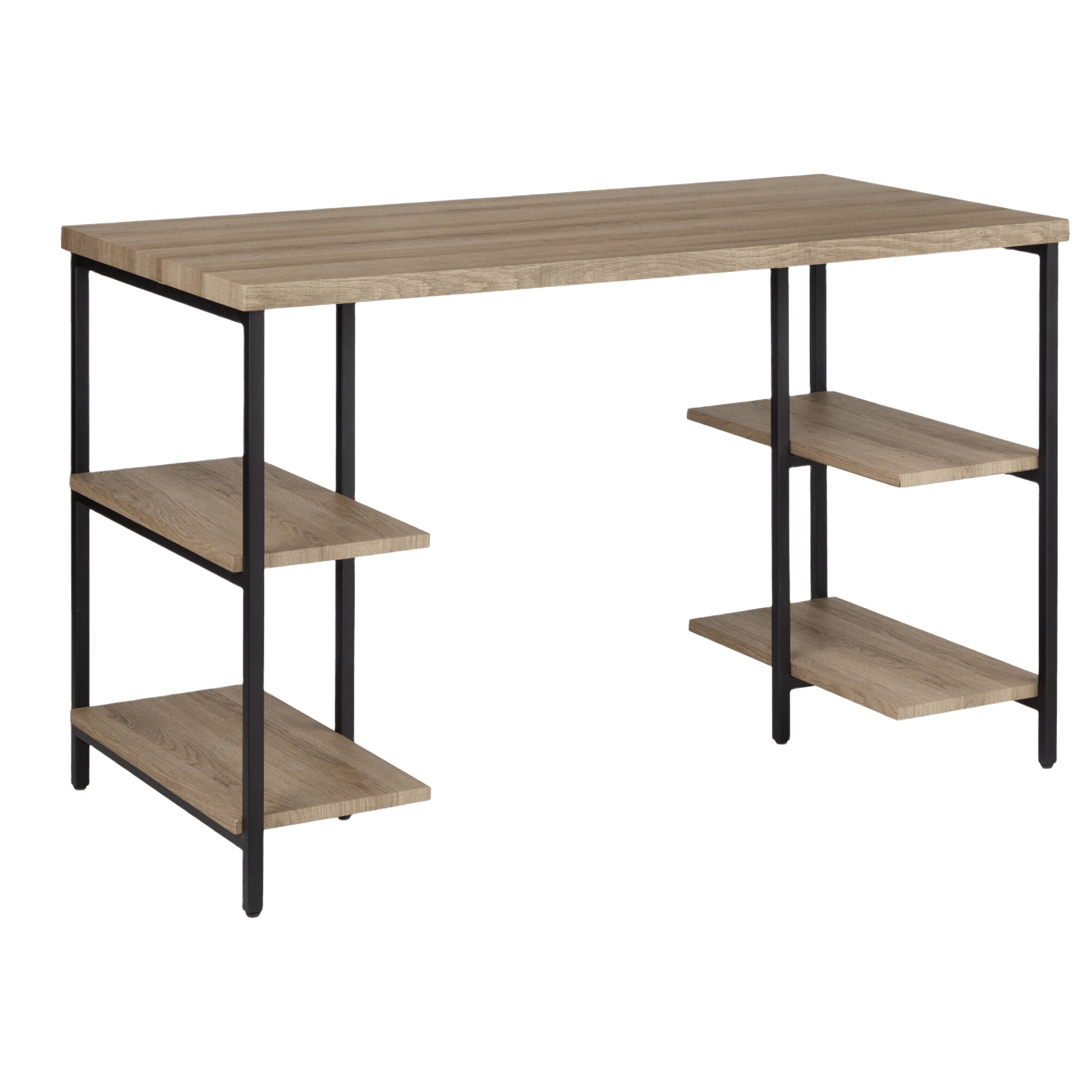 Natural Wood and Black Metal Table with 4 Shelves