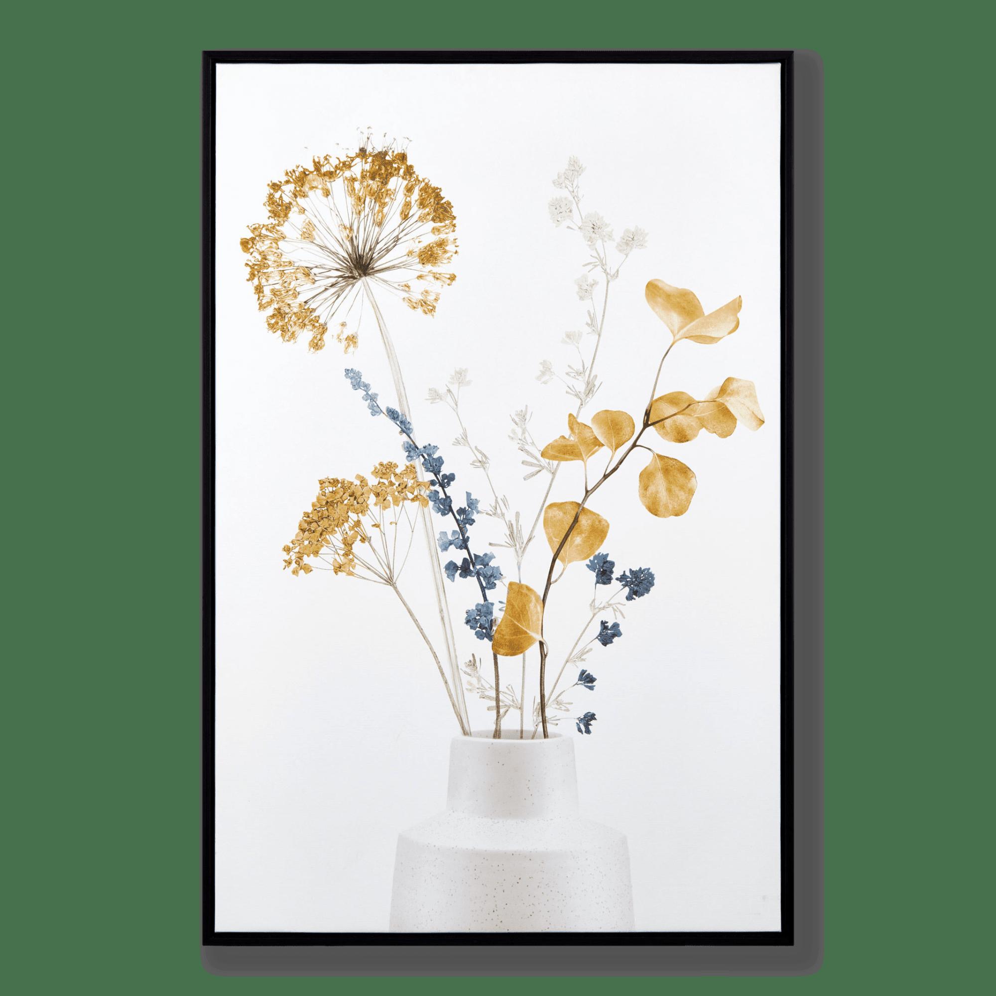 Tableau encadré bouquet bleu et jaune
