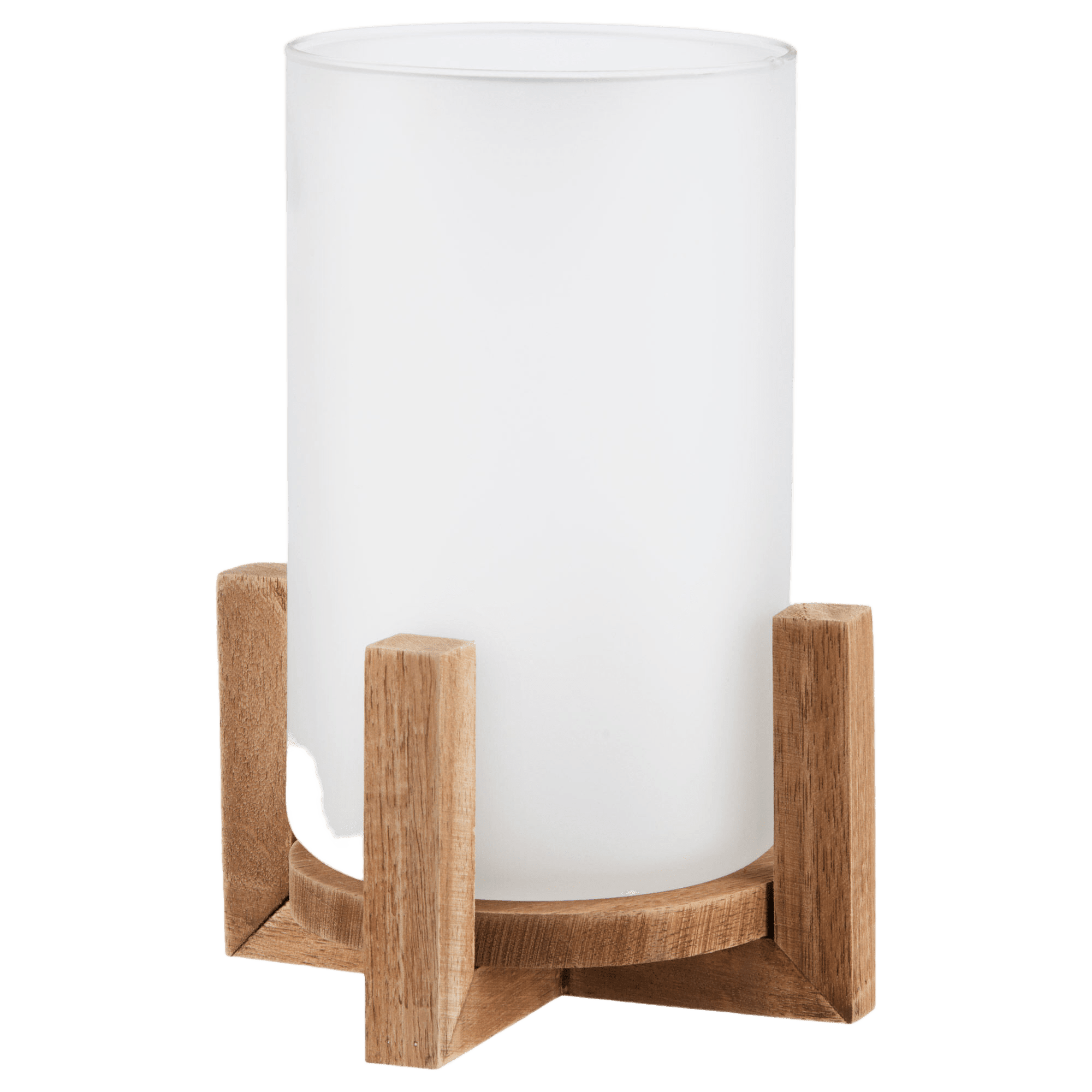 Frosted Glass Candle Holder with Wooden Base