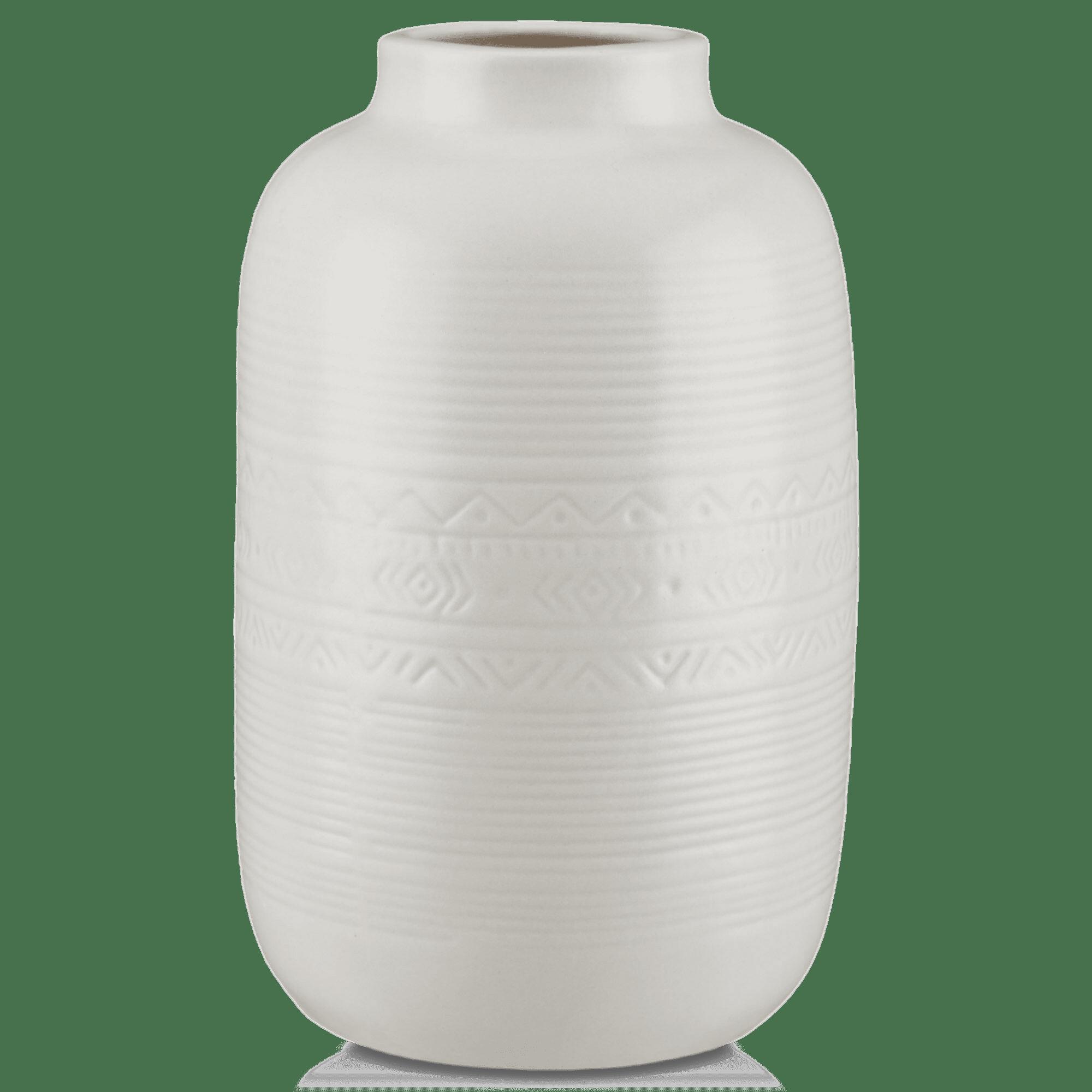 Aztec Patterned White Ceramic Vase