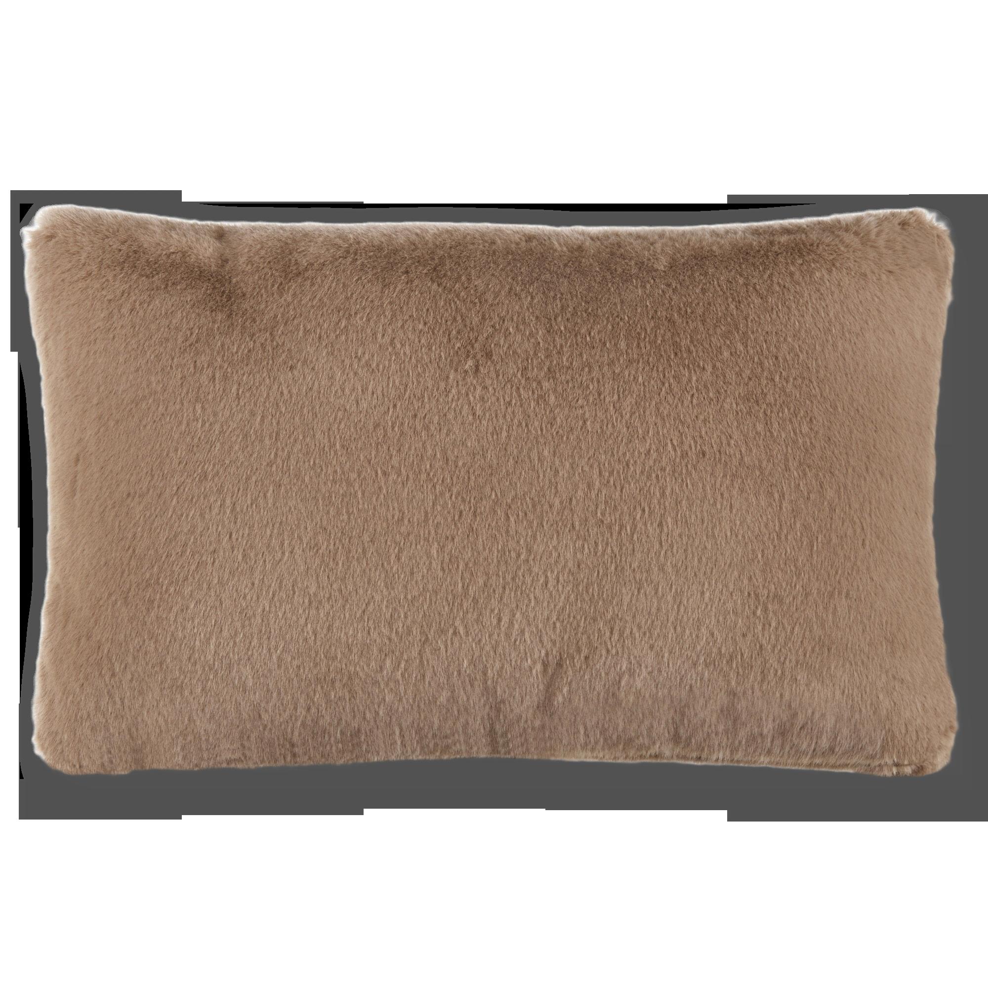 "Coyote Faux Fur Decorative Lumbar Pillow 14"" X 22"""