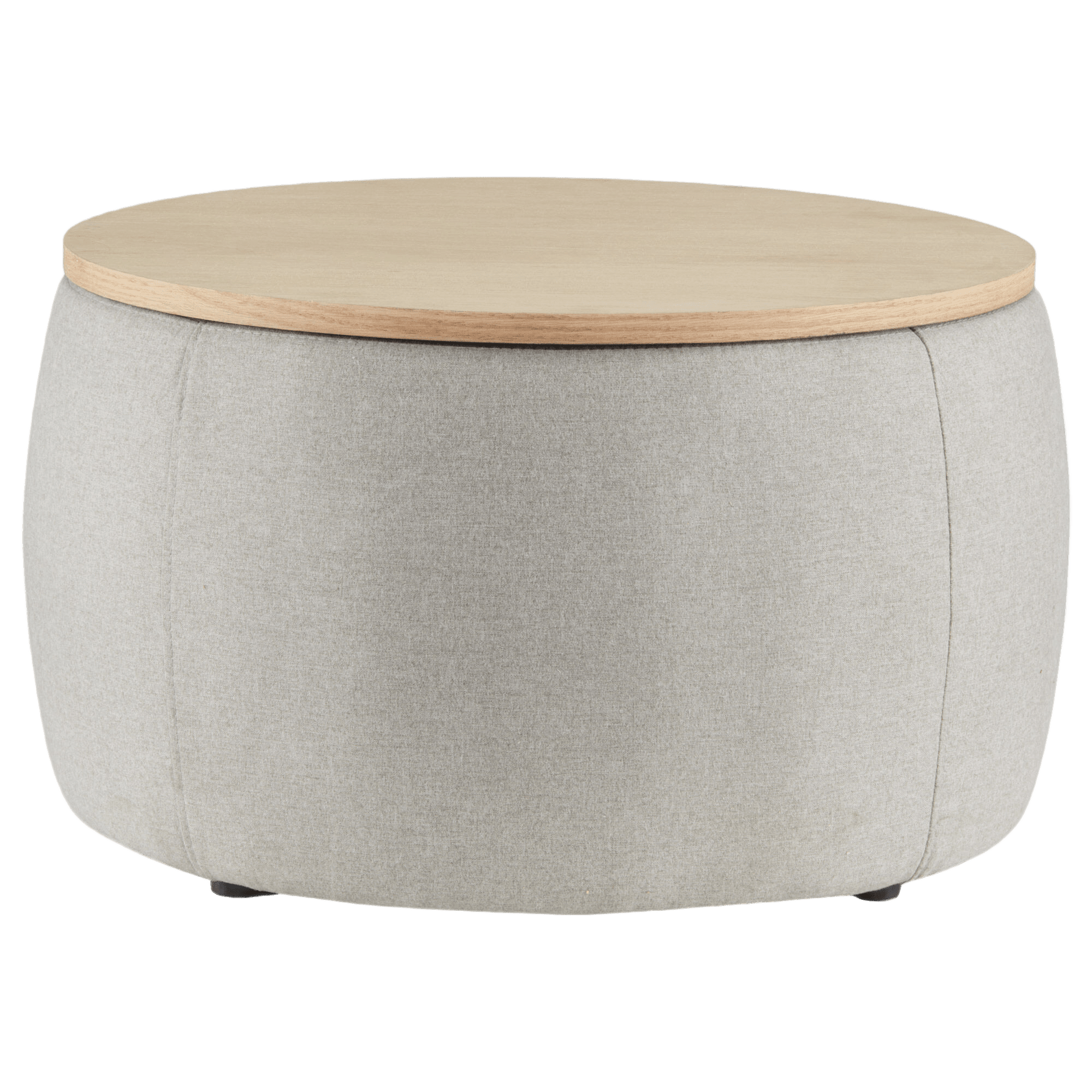 Fabric and Natural Wood Storage Ottoman