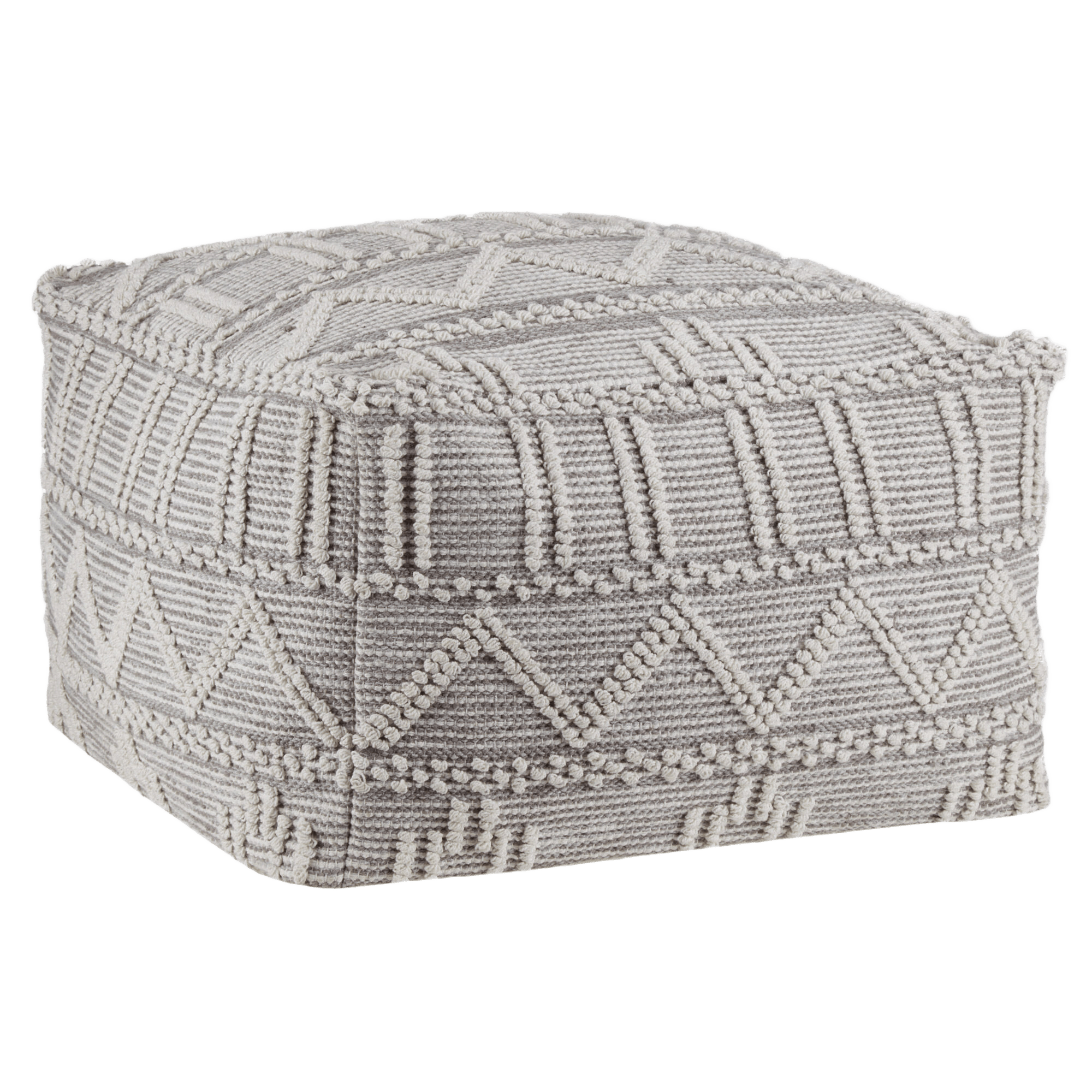 Woven 2-Tone Grey Ottoman