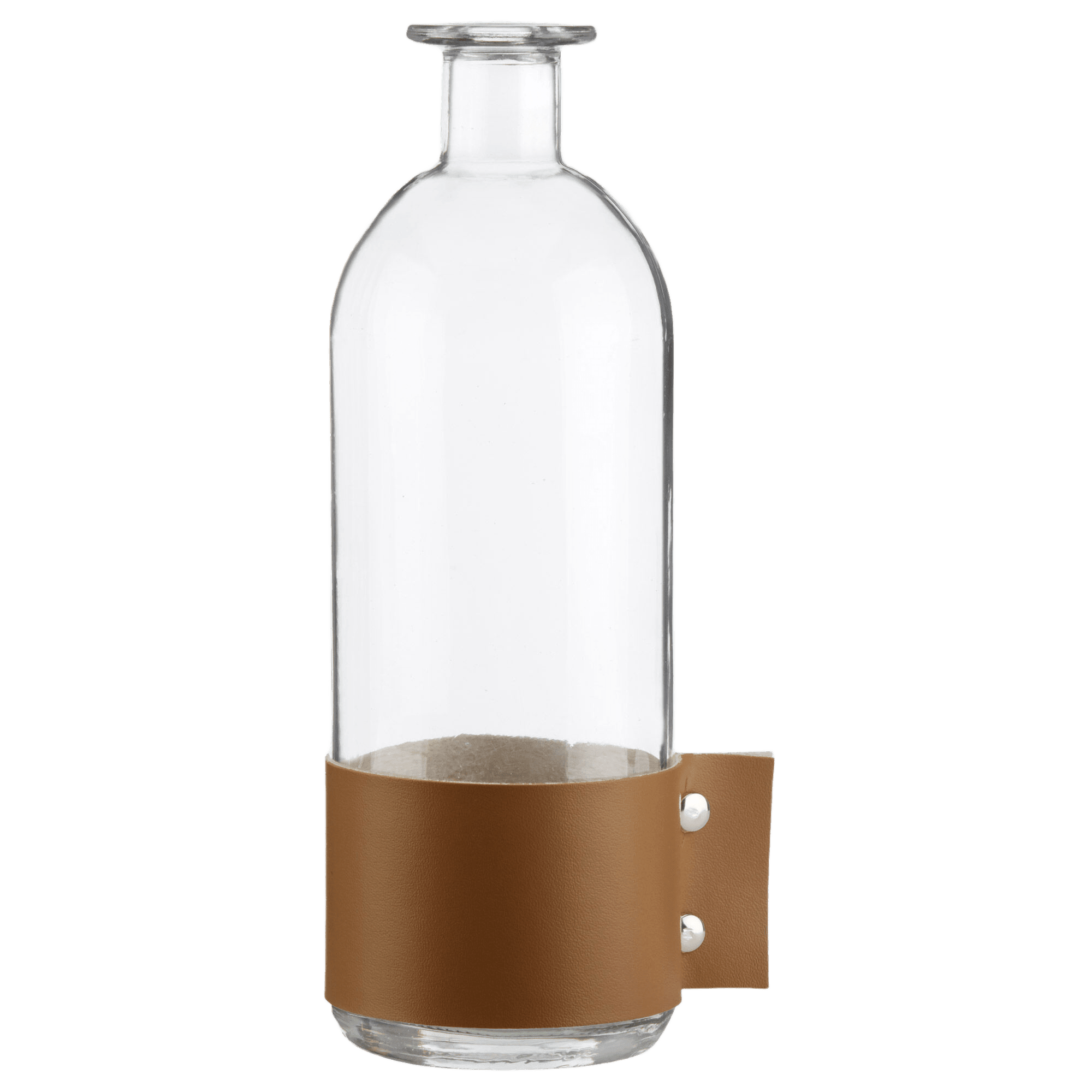Bottle Vase with Faux Leather Accent