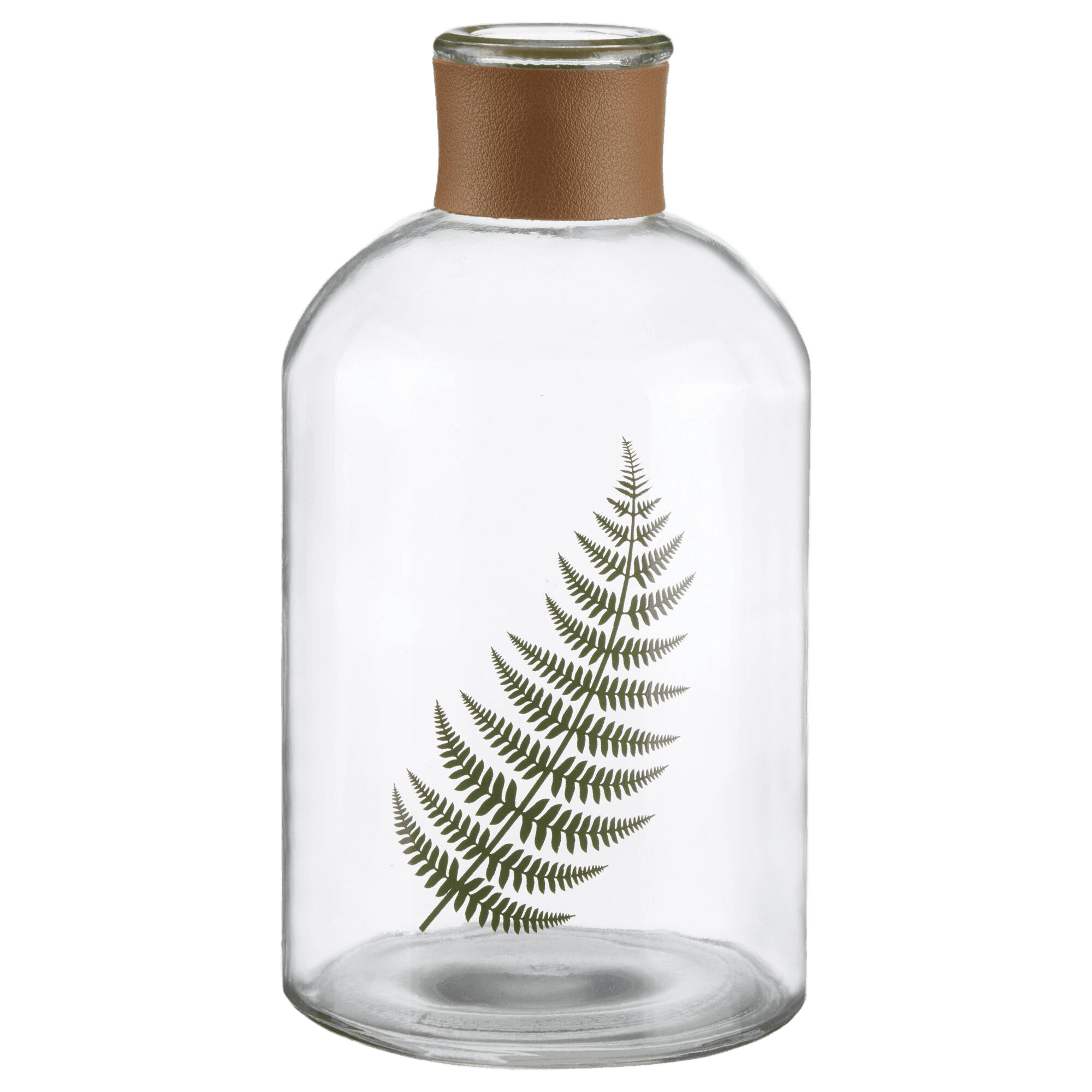Leaf in a Clear Glass Bottle