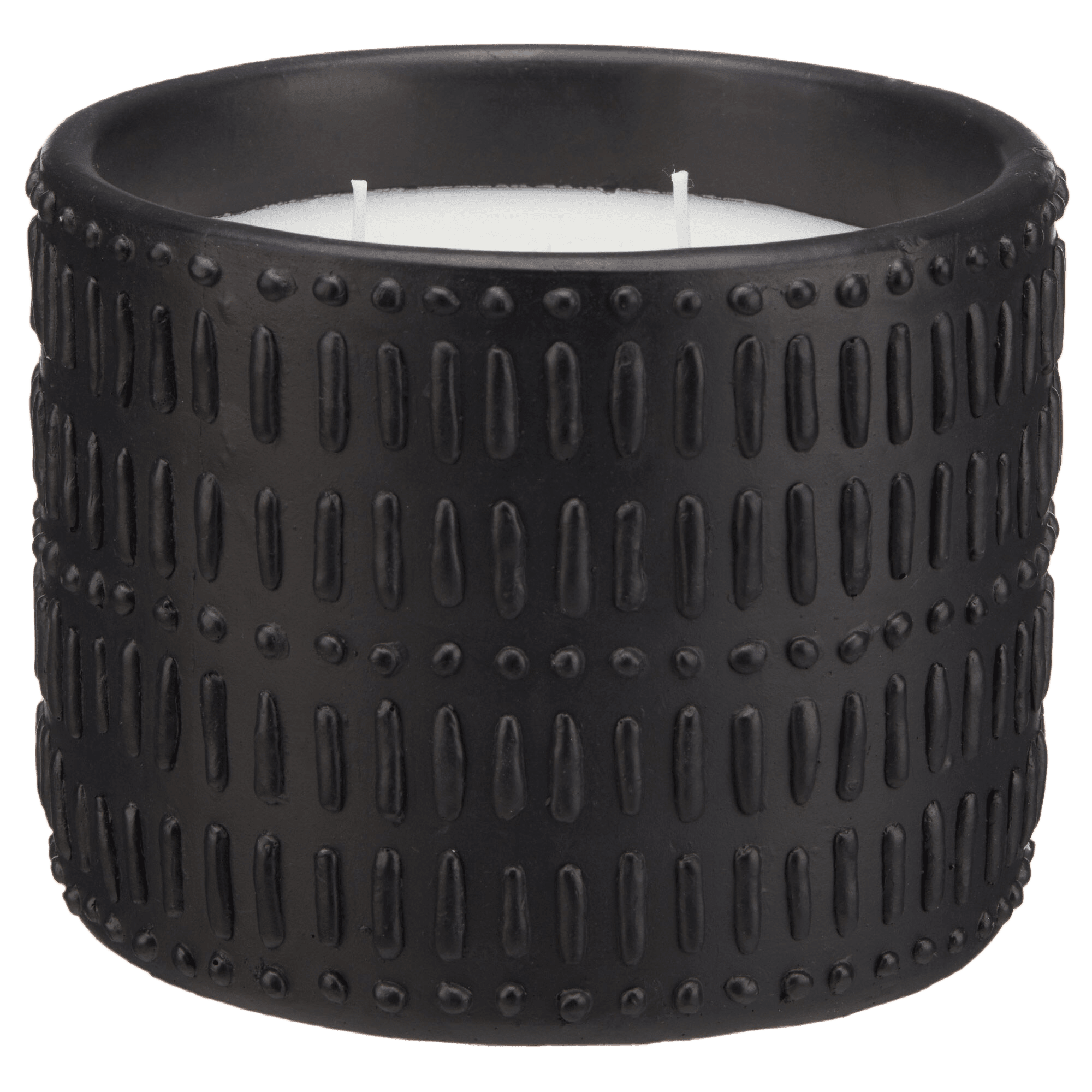 Candle in Artisanal Black Cement Holder