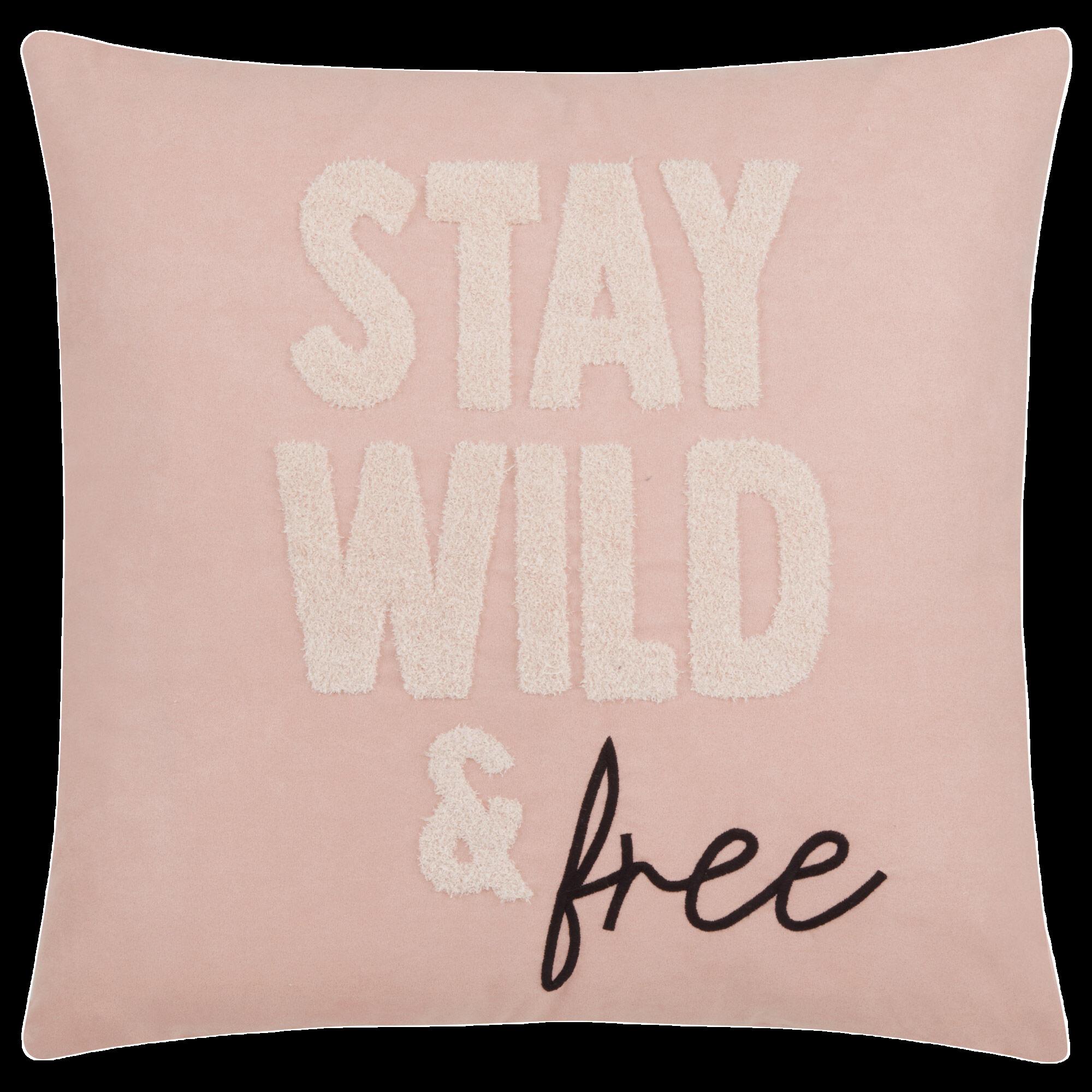 "Stay Wild & Free Decorative Pillow 18"" x 18"""