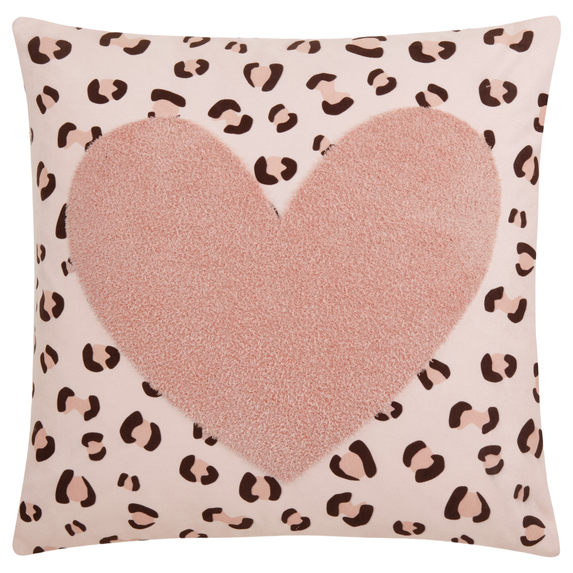 """Koury Heart and Leopard Print Decorative Pillow 18"""" x 18"""""""
