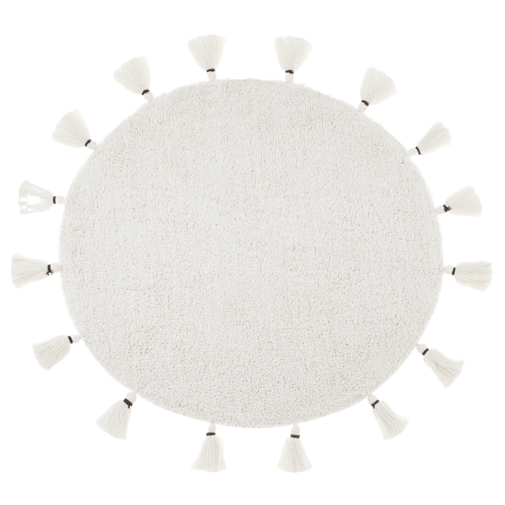 Round White Bathmat with Tassels