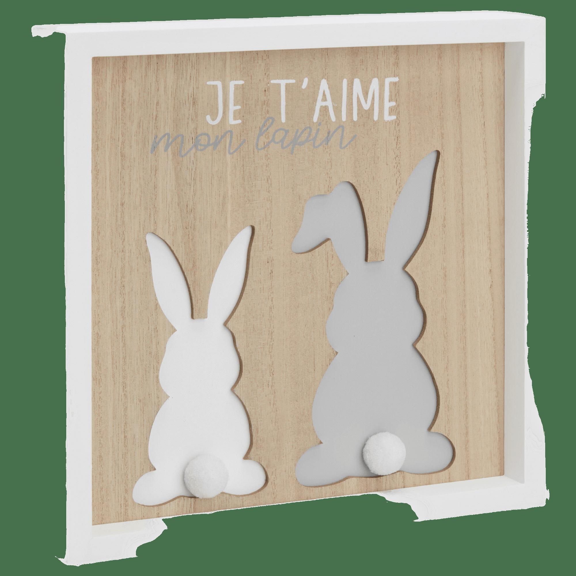 Cadre en bois décoratif avec lapins et typographie