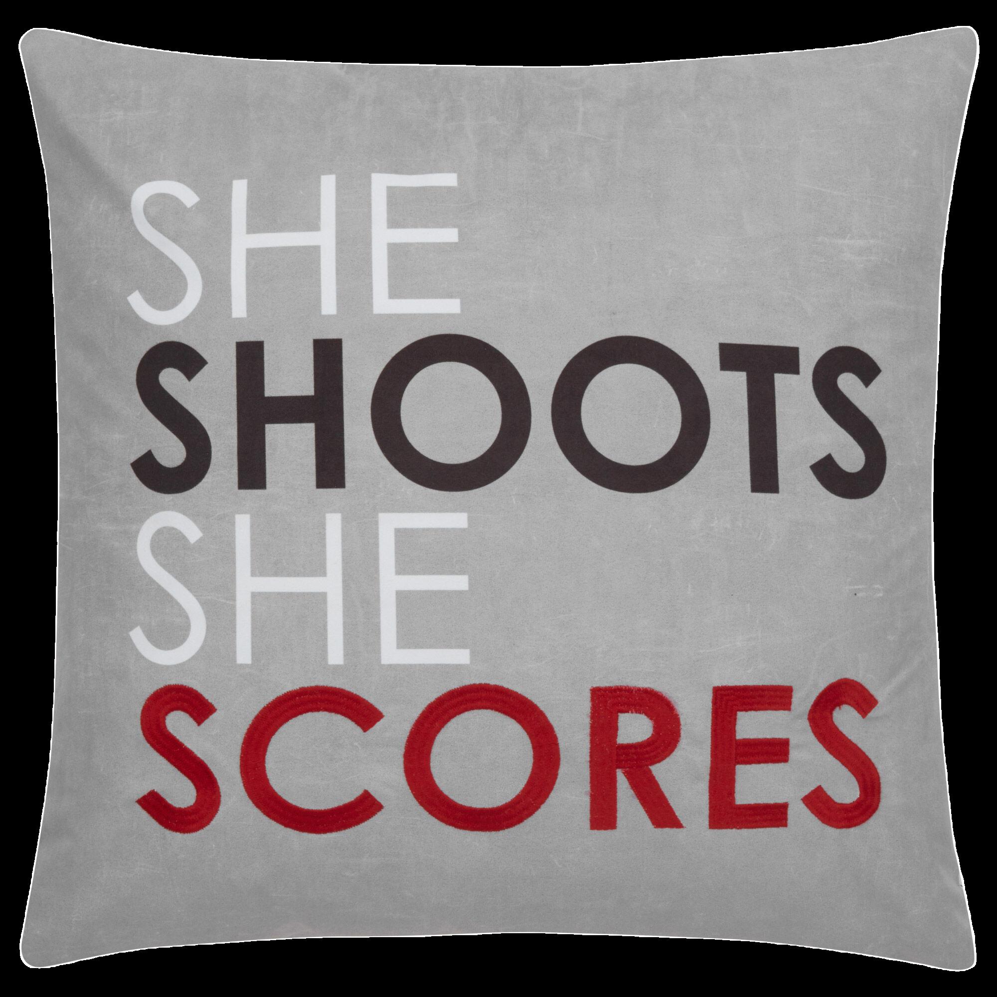 """Coussin décoratif She Shoots She Scores (Elle lance elle compte) 18"""" x 18"""""""