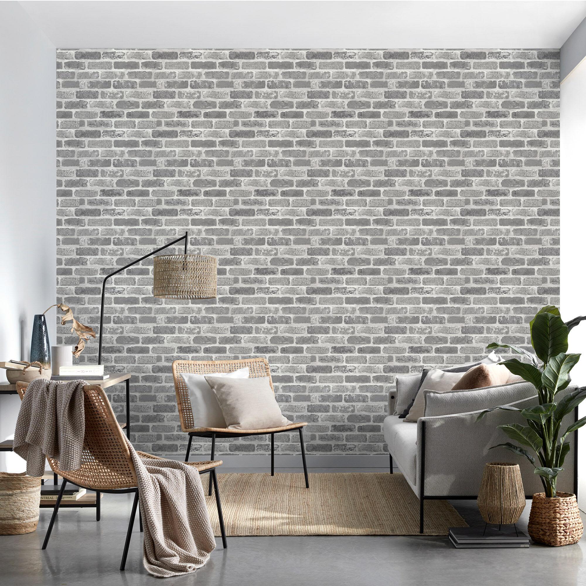 Papier peint autocollant briques grises